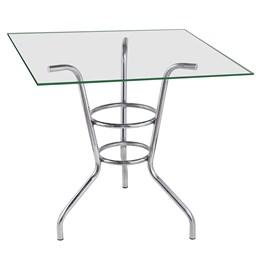 Mesa para sala de jantar em aluminio com tampo de vidro quadrado 80 cm - Alegro Moveis