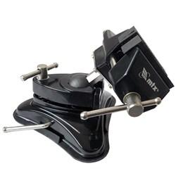 Mini Torno Morsa de Bancada 70mm com Base de Ventosa e Cabeça inclinável Giratória