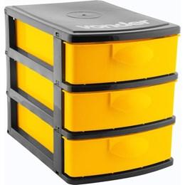 Organizador Plástico 3 Gavetas Preto/Amarelo - Vonder