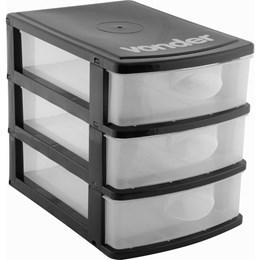 Organizador Plástico 3 Gavetas Preto/Transparente - Vonder