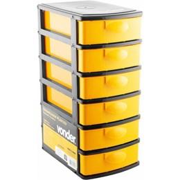 Organizador Plástico 6 Gavetas Preto/Amarelo - Vonder