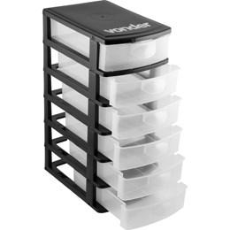 Organizador Plástico 6 Gavetas Preto/Transparente - Vonder