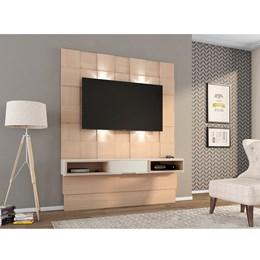 Painel Quadriculado 3D Para TV Com Led e 1 Gaveta Natural Off White - Dalla Costa