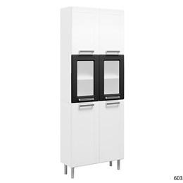 Paneleiro Duplo 6 Portas 2 Portas de Vidro Múltipla Branco/Preto - Bertolini
