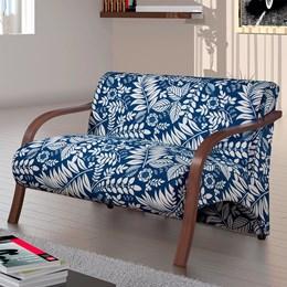 Poltrona Decorativa Adele 2 Lugares com Braço em Madeira Azul