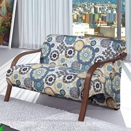Poltrona Decorativa Adele 2 Lugares com Braço em Madeira Branco/Azul