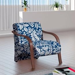 Poltrona Decorativa Adele Azul com Braço em Madeira