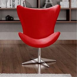 Poltrona Decorativa Alice Base Giratória Alumínio Vermelho -  Bella Decor