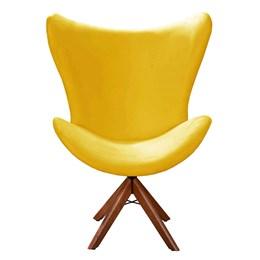 Poltrona Decorativa Alice Base Giratória Madeira Amarelo -  Bella Decor