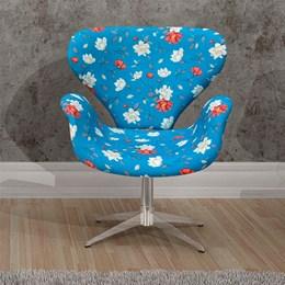 Poltrona Decorativa Anne Base Giratória Cromada Azul Floral -  Bella Decor