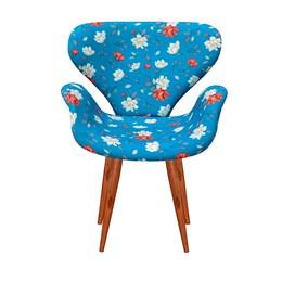 Poltrona Decorativa Anne Base Madeira Azul Floral -  Bella Decor