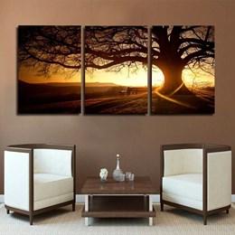 Quadro 60x120cm Árvore Por Do Sol Decorativo Interior Luxo