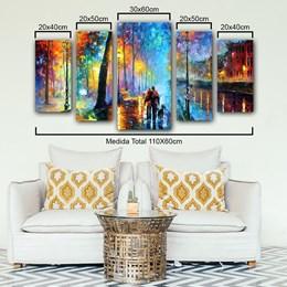 Quadro Decorativo Abstrato 110cm Casal 5 Pçs Sala ou Quarto