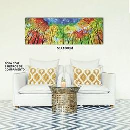 Quadro Decorativo Abstrato 50x150cm Árvores Panorâmicas