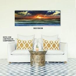 Quadro Decorativo Abstrato 50x150cm Pôr do Sol na Praia
