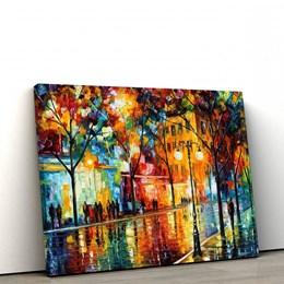 Quadro Decorativo Abstrato 60x90cm Espatulado Paisagem Praça