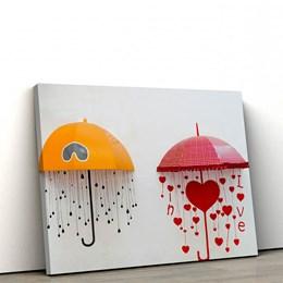 Quadro Decorativo em Tecido Canvas 60x90cm guarda chuvas coração
