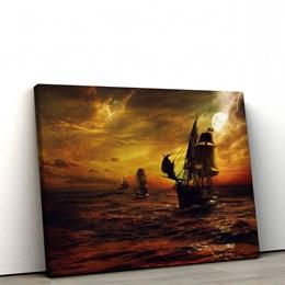 Quadro Decorativo Navios em Alto Mar 60x90cm Sala ou Quarto