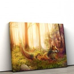 Quadro Decorativo Raposa na Floresta 60x90cm Sala ou Quarto