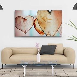 Quadro Decorativo Tela Coração 40x80cm Sala ou Quarto