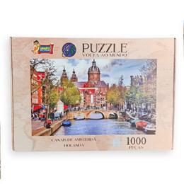 Quebra Cabeça Puzzle 1000 peças Canais de Amsterdã Holanda  Uriarte