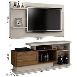 Rack com Painel para TV até 48 Polegadas Camaçari Off White/Imbuia - CHF Móveis