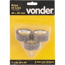 Roda De Lixa, Kit Com 03 Peças, 50 X 20 Mm Com Haste Vonder