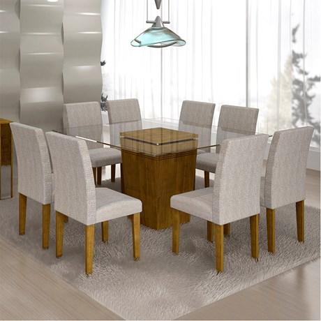 e496181e5 Sala de Jantar Ômega 8 cadeiras Classic Ypê Suede cinza 90 ...