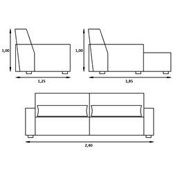 Sofa Retratil Reclinável Londres 2,40 M - Triunfo