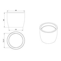 Vaso Redondo Europa 28cmx33,5cm Cimento - Japi
